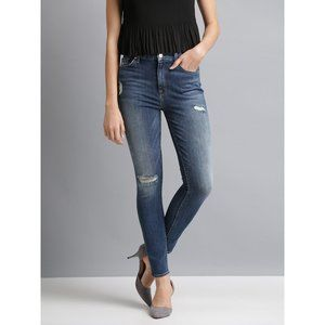 7FAM The Skinny Distressed Blue Jeans